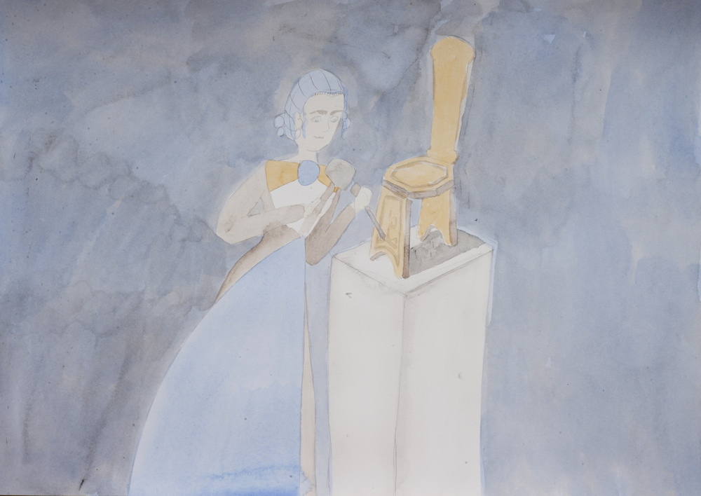 She had a studio under the house...., 2016, Watercolour and pencil on paper, 42.0 x 29.5 cm, Unique object