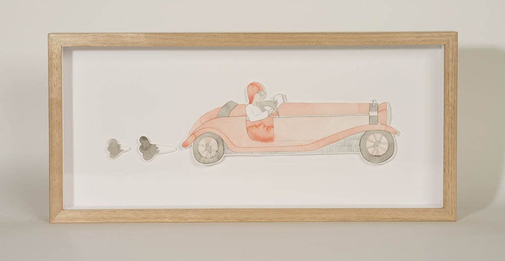 Nina Eva Vida Jones: Car 1, 2016, Watercolour and pencil with Tasmanian oak frame, 45 x 21 cm, $660 AUD