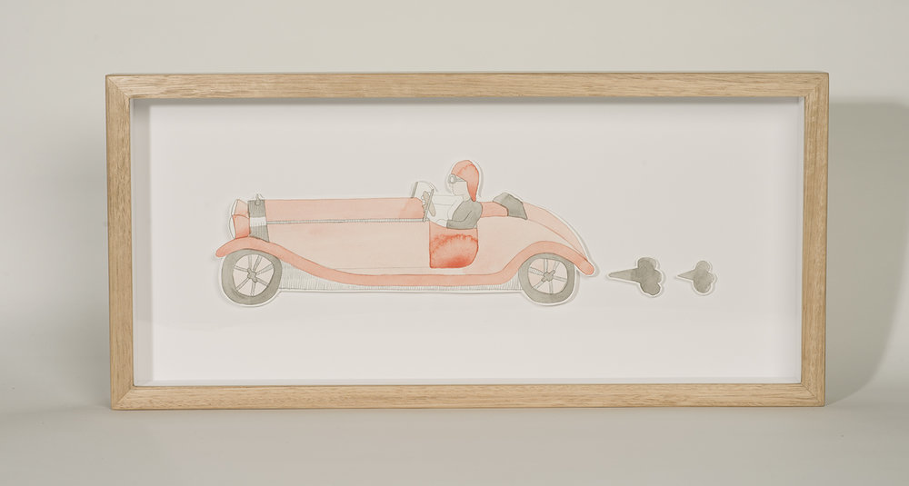 Nina Eva Vida Jones: Car 2, 2016, Watercolour and pencil with Tasmanian oak frame, 45 x 21 cm, $660 AUD