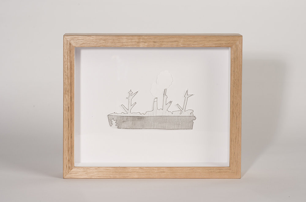 Alice Nicklin: Little boat, 2016, Watercolour and pencil with tasmanian oak frame, 20.5 x 18.0 cm, $600 AUD
