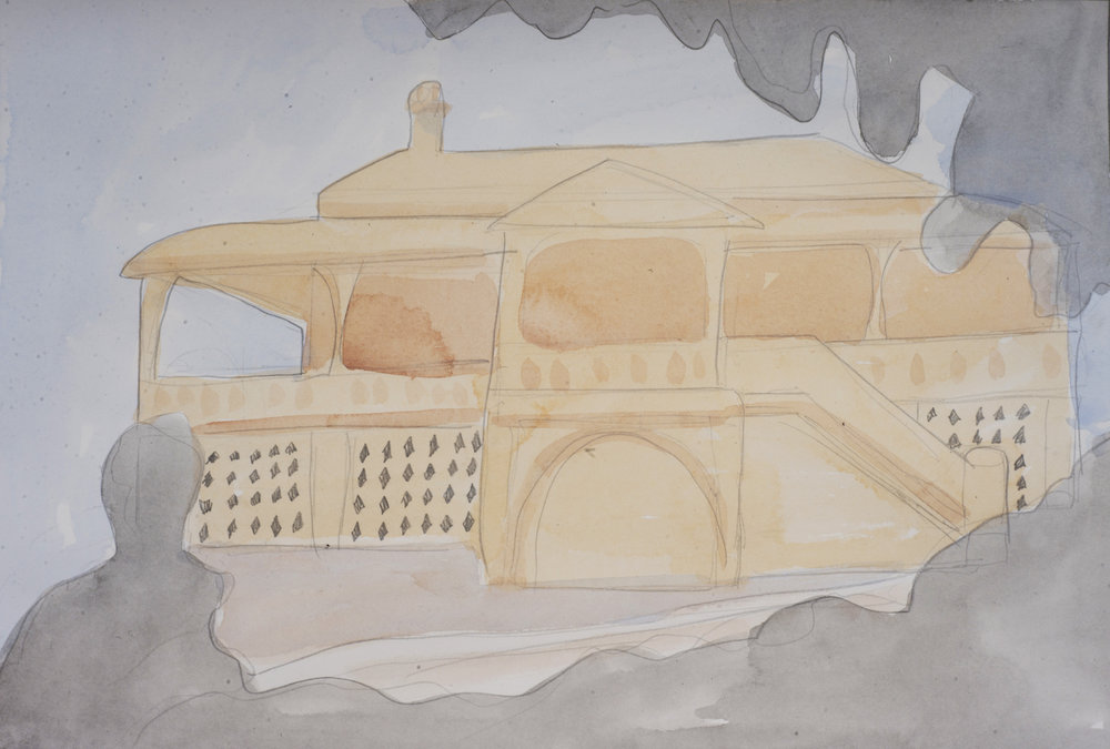 Leila Perry: She moved into Miegunyah House...., 2016, Watercolour and pencil on paper, 42.0 x 29.5 cm, $410 AUD