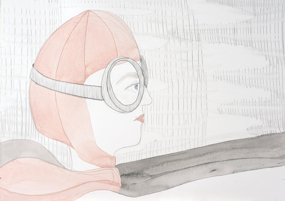 Nina Eva Vida Jones: Driving, 2016, Watercolour and pencil on paper, 42.0 x 29.5 cm, $410 AUD