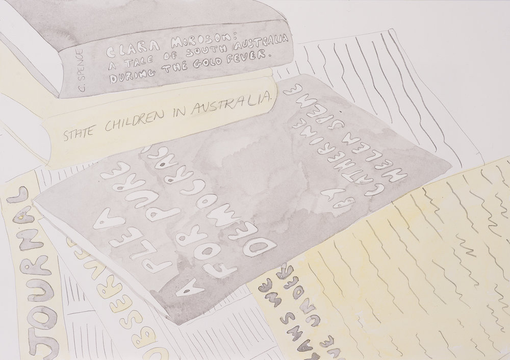 Catherine Helen Spence: Writings, 2016, Watercolour and pencil on paper, 42.0 x 29.5 cm, $410 AUD