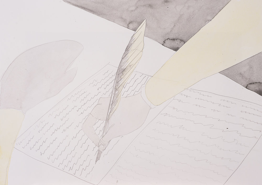 Catherine Helen Spence: Letters, 2016, Watercolour and pencil on paper, 42.0 x 29.5 cm, $410 AUD