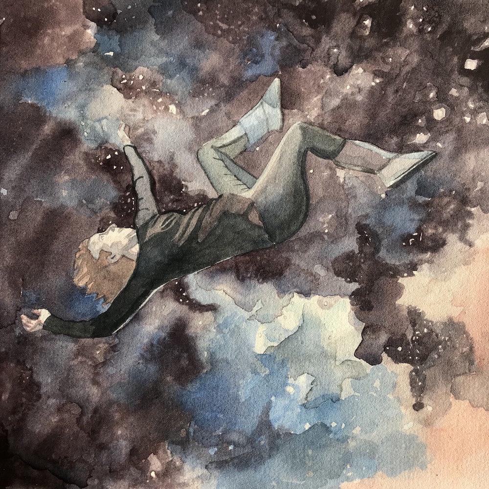 Camille Serisier, Falling, 2018, 21.0 x 21.0 c, Image copyright Camille Serisier