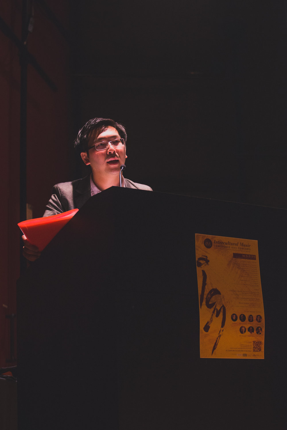 Siu Hei delivering the opening remarks of the  Intercultural Music (IcM) Conference and Concerts  (2016), in which he was chief curator and coordinator. Photo credit to  Leticia Ng .