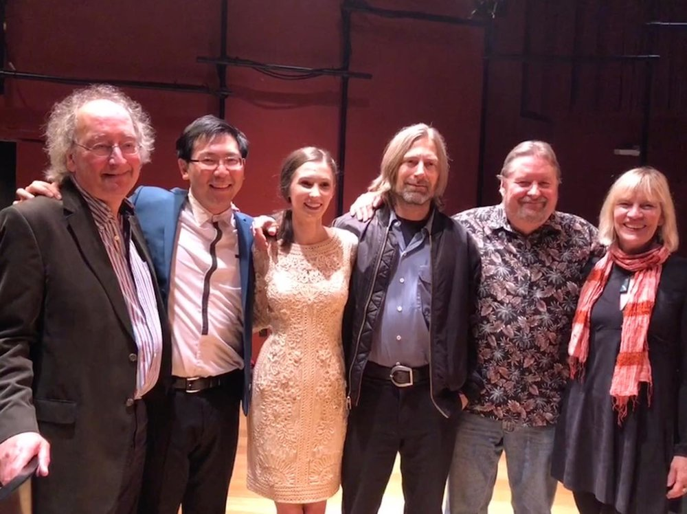 - Happy composers, poet, and performers after the concert!From left to right:James Erber (who flew all the way from London); me; Kirsten Ashley Wiest; Jeffrey Holmes; Jack Van Zandt; Jill Freeman