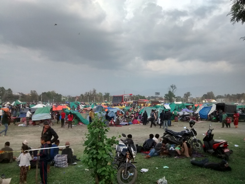 One of the parks where thousands have been staying since the quake.