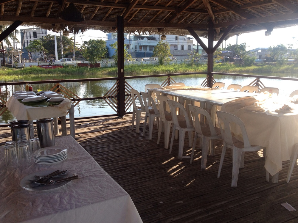 "A floating restaurant at the Dampa sa Paseo, a private ""island"" in the Paseo de San Antonio area of Malabon."