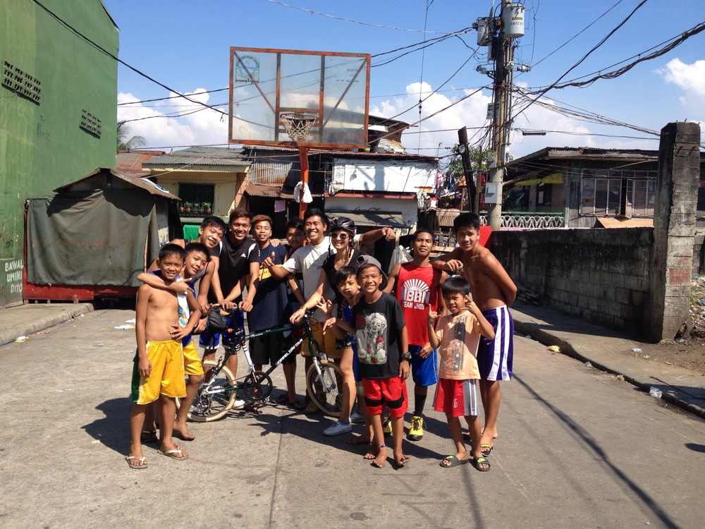 Saying hi to a group of players on a side street in Navotas.