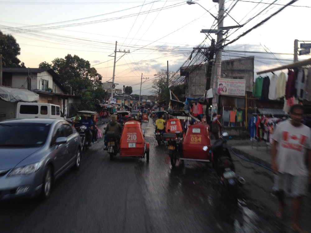 Luzon Ave the only straight through street between Commonwealth and C-5 in that area is the most congested.