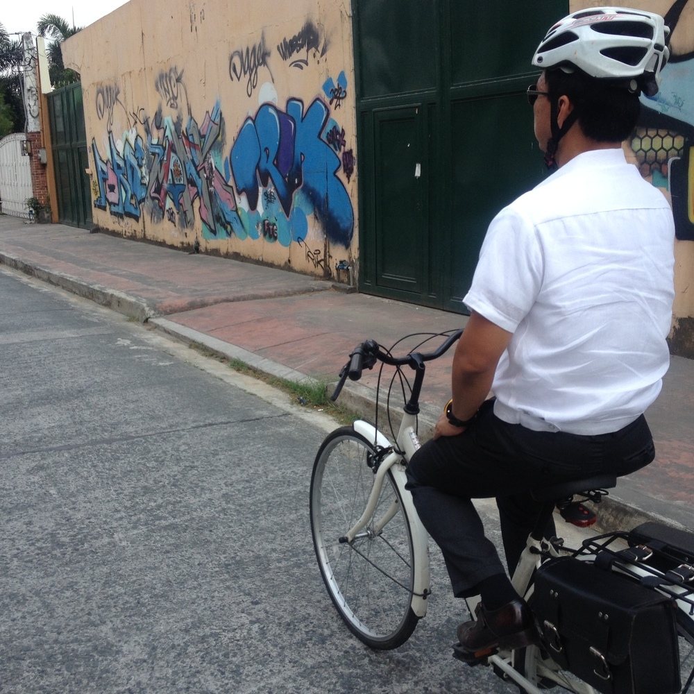 Vice Mayor Cadiz cruising. Going around with him he knew everyone, from vendors to pedicab drivers. He bikes everywhere and is brought of his Japanese surplus find that he outfitted with custom made leather saddles hand crafted in Marikina. There is apparently a budding leather bike accessories industry in Marikina. WIth its heritage in shoe making this seems like an innovative evolution in craft. I was told that the bicycle parts and assembly are primarily still in Valenzuela, but Marikina does have a strong buy and sell bike industry.