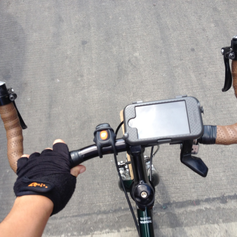 A few things that are making more journey more comfortable: Doppleganger Hub PH gloves, a front light, and an iphone mount for navigating and easy access to the phone for taking pictures.