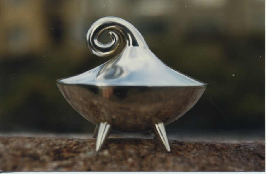 """A box for the little prince"", designed in 1997. The box is hinged and made in sterling silver"