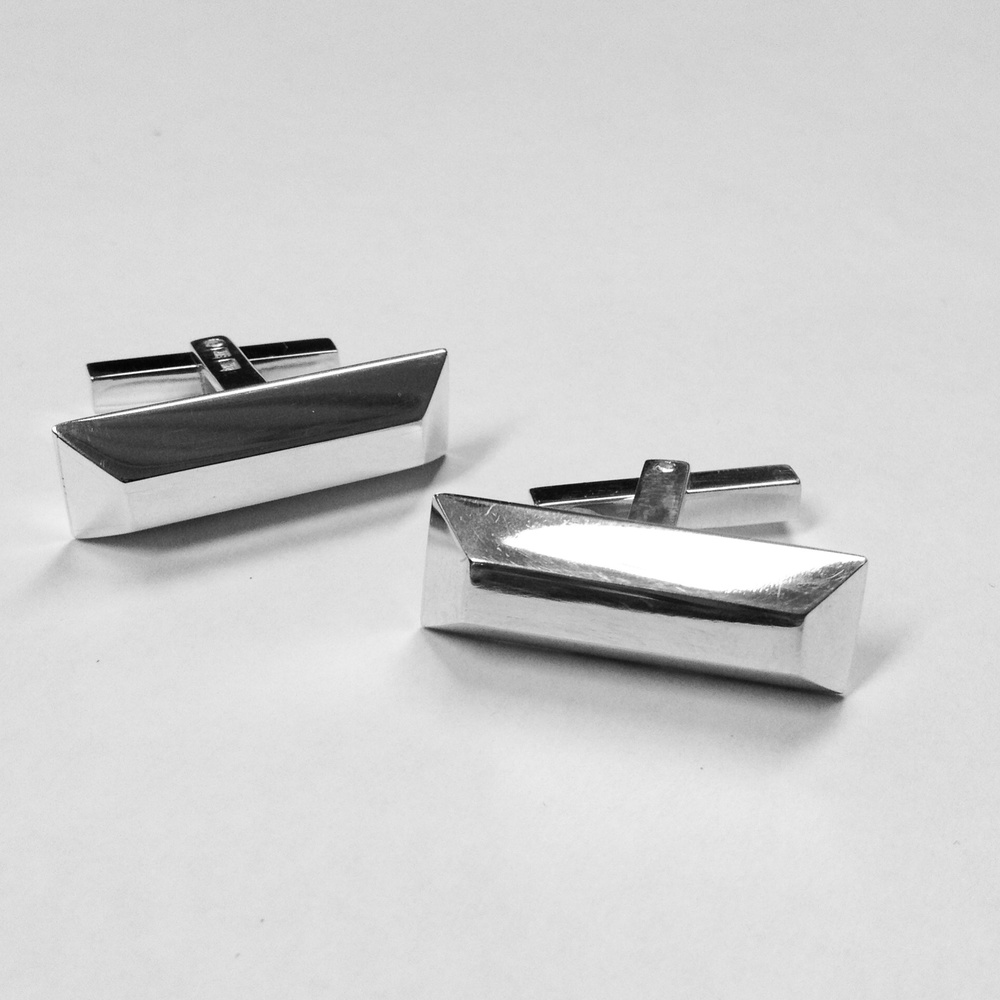 Silver ingot cufflinks. Designed in 2014