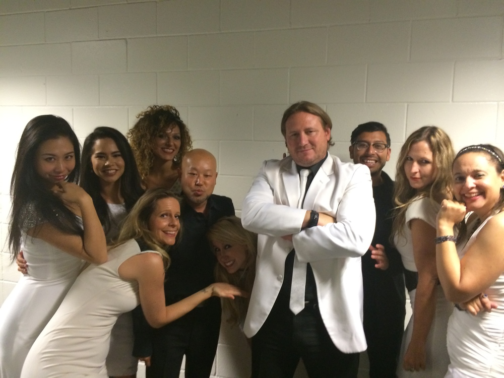 String section for Marco Antonio Solís backstage with Concert Talent president Sean Bradley  September 2014