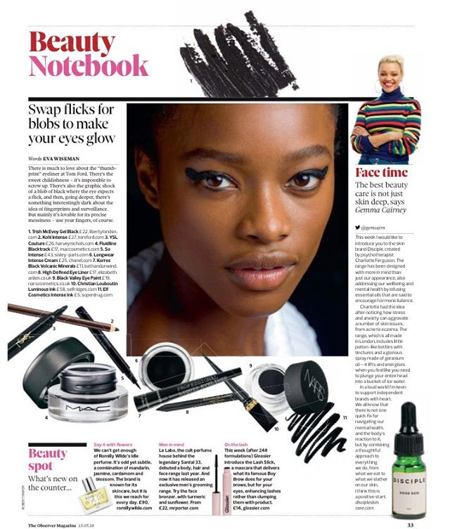 In case you missed it 😉 @gemagain talking about DISCIPLE in the @obsmagazine 🙌🏽 . We had such an amazing response to the piece and made contact with lots of lovely new customers who were keen to tell us all about how stress/anxiety/depression/divorce/bereavement and so much more had been affecting them and how their skin had suffered as a consequence. . How your skin/face/body look and feel in times of stress may seem trivial but looking in the mirror every day and feeling disconnected and self-conscious of the face and body looking back can perpetuate negative feelings, low mood, anxiety and isolation. Many of the customers we speak to say that the few minutes they take using their face oils is the most peaceful moment of their day. . As Gemma says in the article, a face oil isn't going to solve all your problems but taking a few minutes for a bit of self care and using products that nourish and balance you from the inside out can be a welcome anchor during the hectic and stressful periods that life throws at us 🧡 . #naturalbeauty #naturalskincare #beauty #skincare #beautycommunity #greenbeauty #beautystandards #anxiety #stress #mood #faceoil #wellness #wellbeing #clean #plantbased #beautystandards #observer #skincareroutine