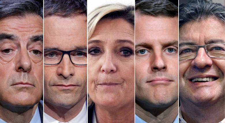A combination picture shows five candidates for the French 2017 presidential election, from L-R, Francois Fillon, the Republicans political party candidate, Benoit Hamon, French Socialist party candidate, Marine Le Pen, French National Front (FN) political party leader, Emmanuel Macron, head of the political movement En Marche ! (Onwards !), Jean-Luc Melenchon, candidate of the French far-left Parti de Gauche, in Paris, France. REUTERS/Charles Platiau/File Photo
