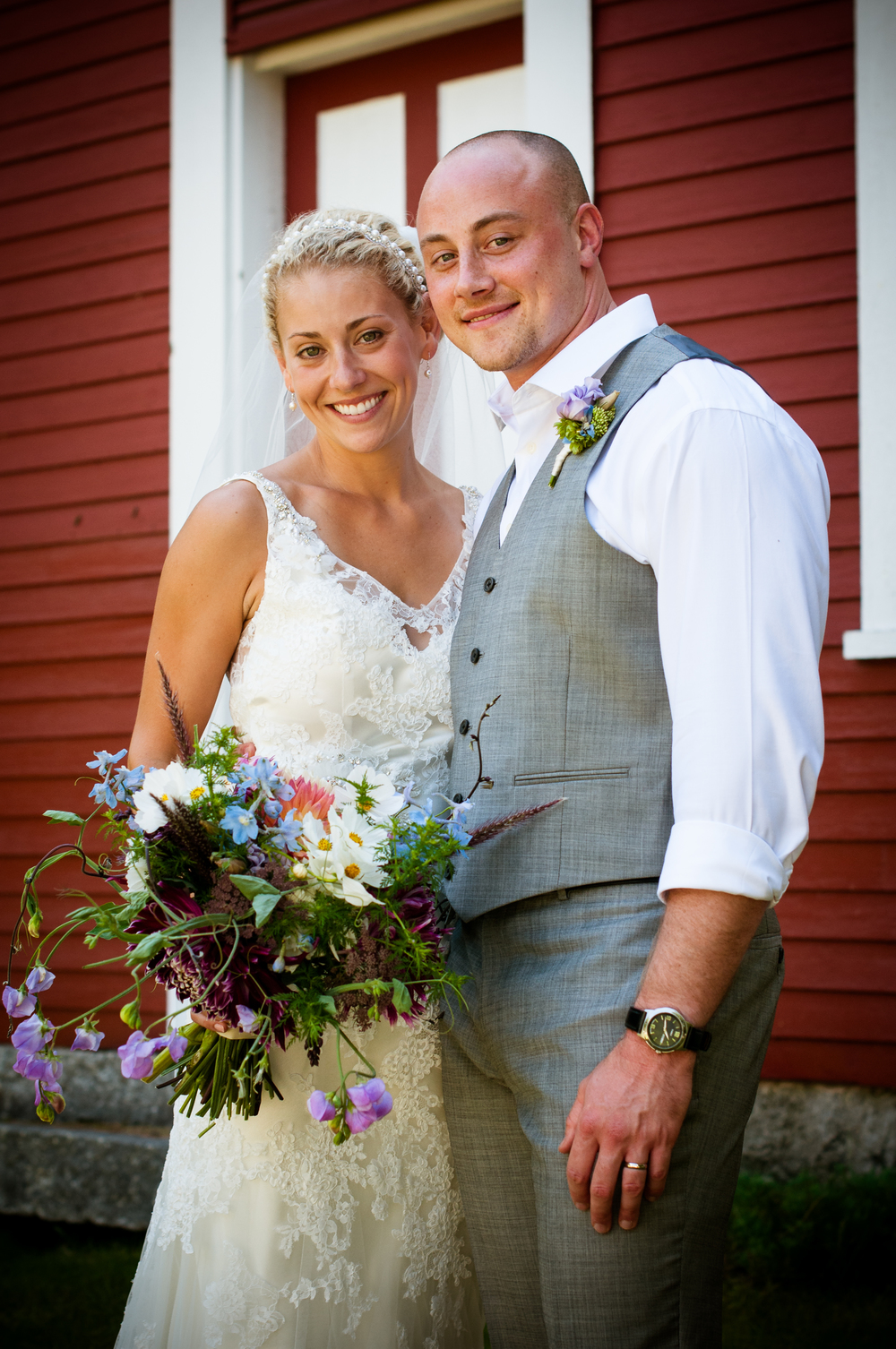 Dawn Witham and Tyler Wentland wedding ceremony photographed at Shapleigh Pond, Newfield Maine