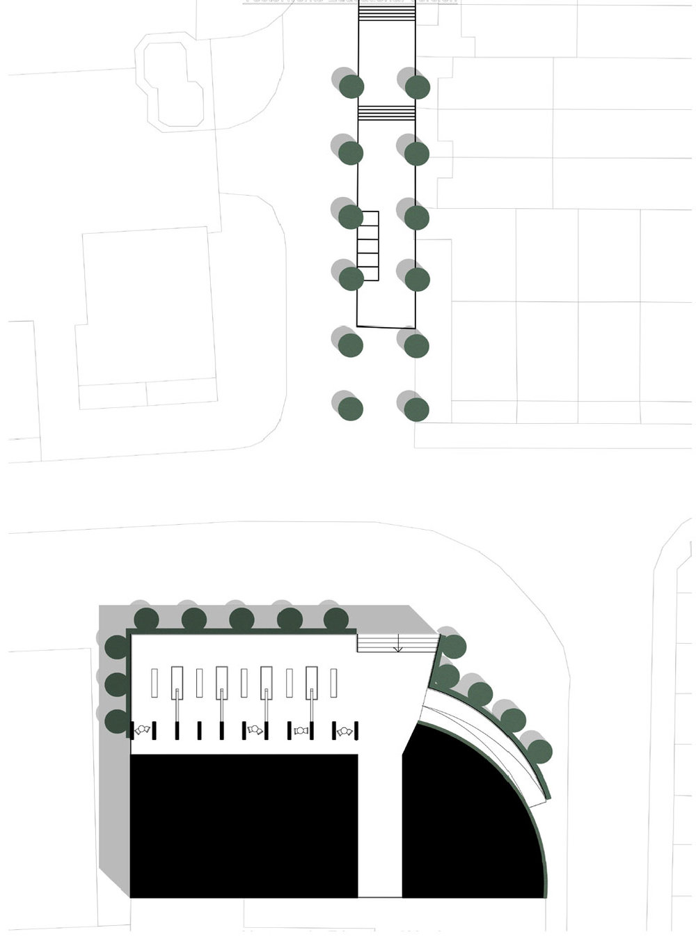 Building is set on a concrete plinth,its boundary marked by planting, creating a heightened sense of place. Green corridors guide visitors to the building from the main approaches.