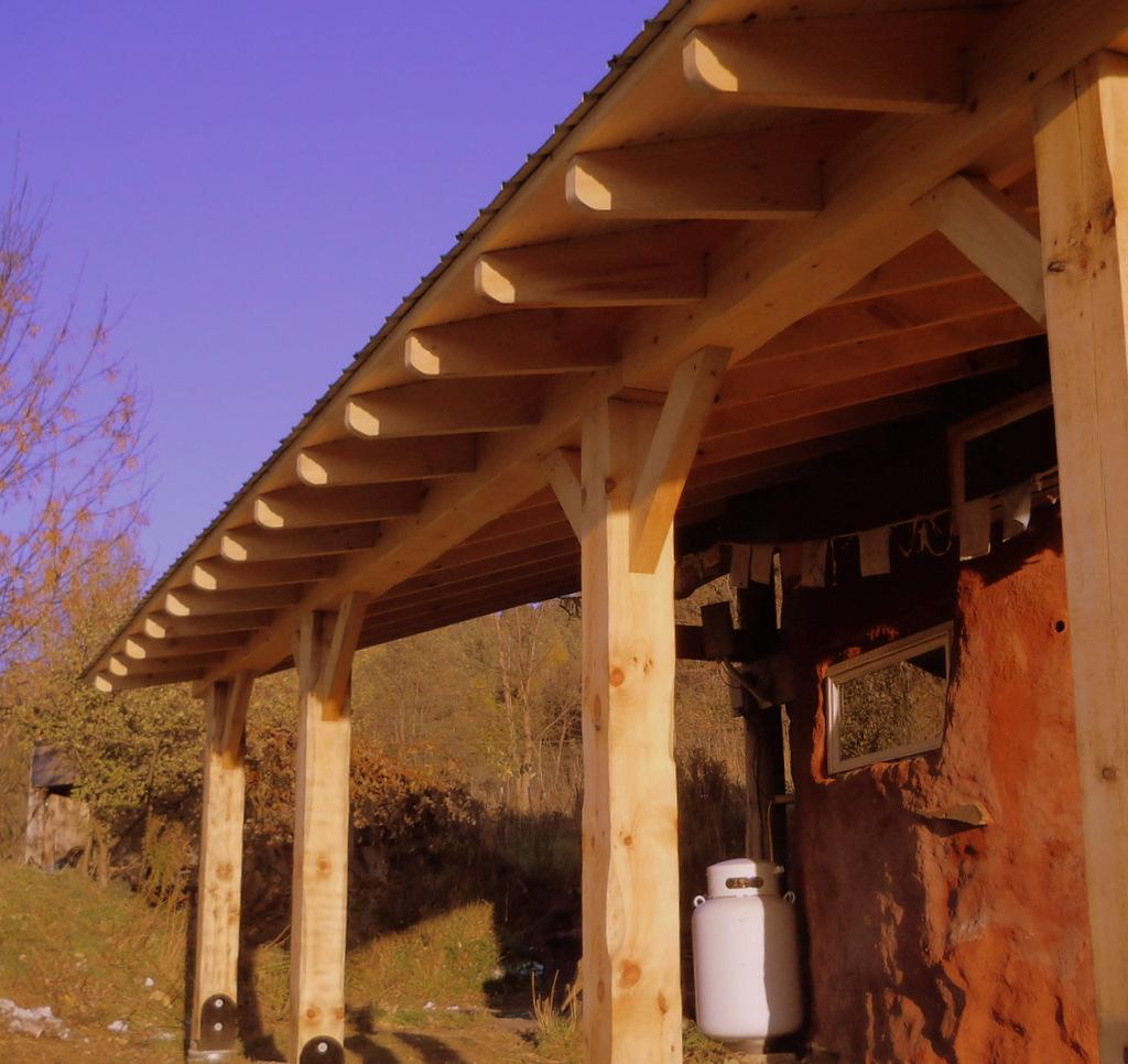 Timber Porch Addition To Cob House Sticks amp Stones