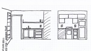 kitchen elevation sketch