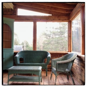screen porch with furniture