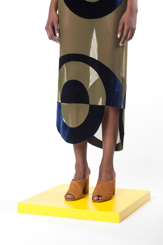 Sheer Velvet Appliqué Mesh Maxi Dress