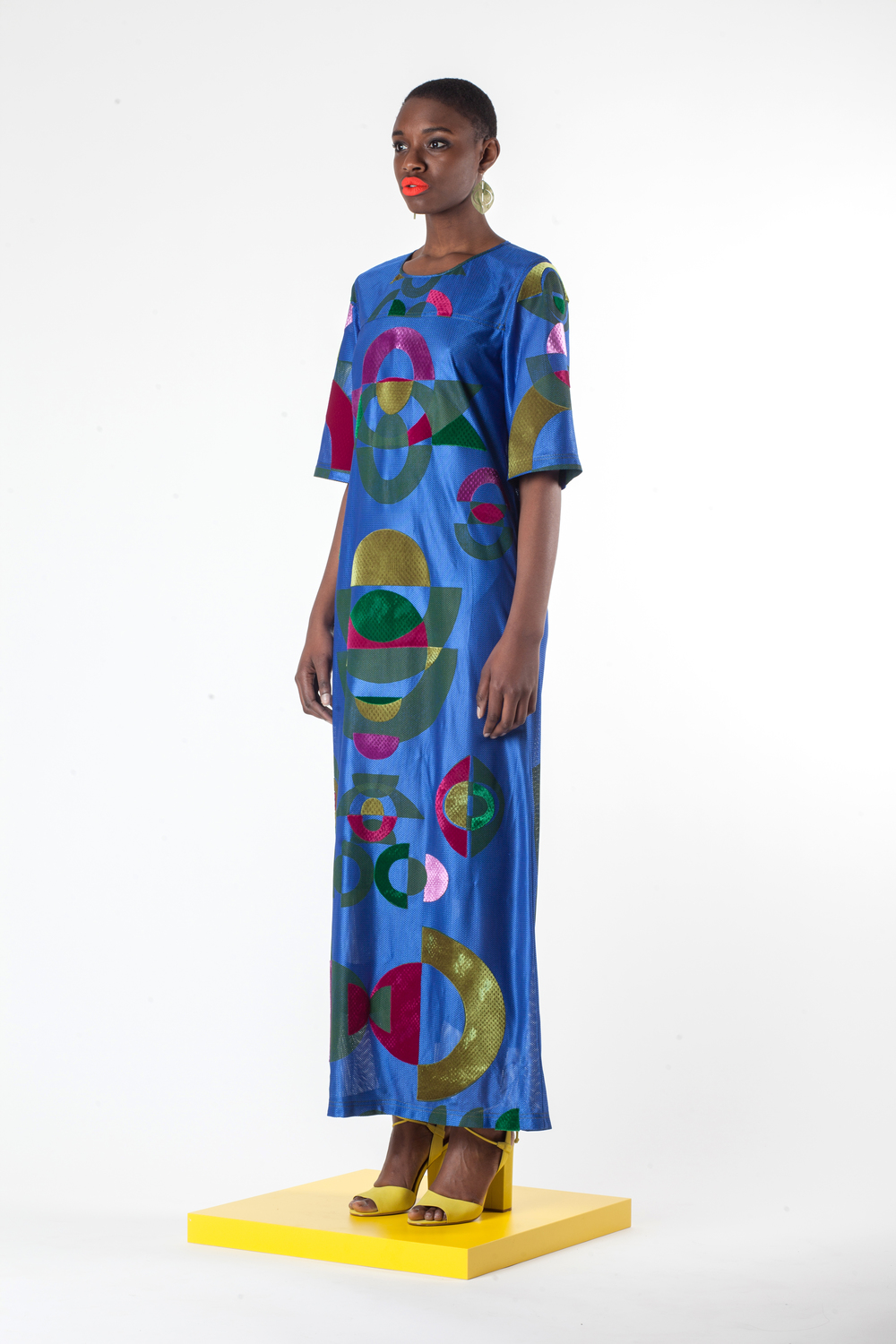 Blue Block Printed and Velvet Appliqué Mesh Maxi Dress with Laser Cut Earrings