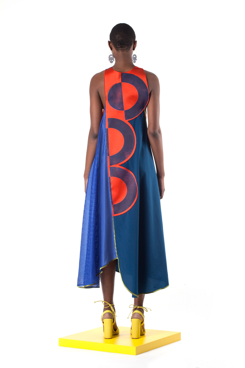 Block Printed Poly Double Faced Duchess Satin, Mesh, Nylon, and Velvet Dress with Laser Cut Earrings