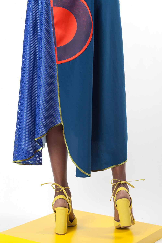 Block Printed Poly Double Faced Duchess Satin, Mesh, Nylon, and Velvet Dress