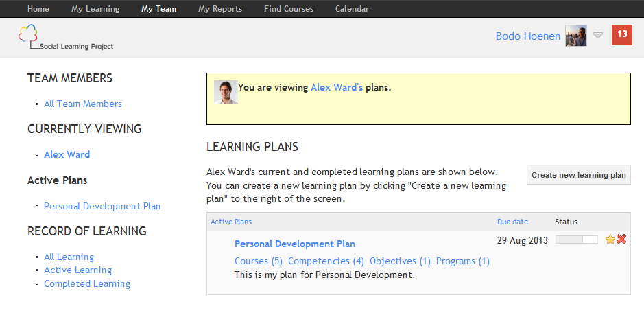 - Users or managers can create learning plans for different areas of development, such as current and aspirational positions  - Learners can personalize plans by setting due dates, priorities and objectives  - Learners can use the development plan to manage the scheduling of their courses and activities  - Additional  competencies  and courses can be requested by the learner or added by a manager
