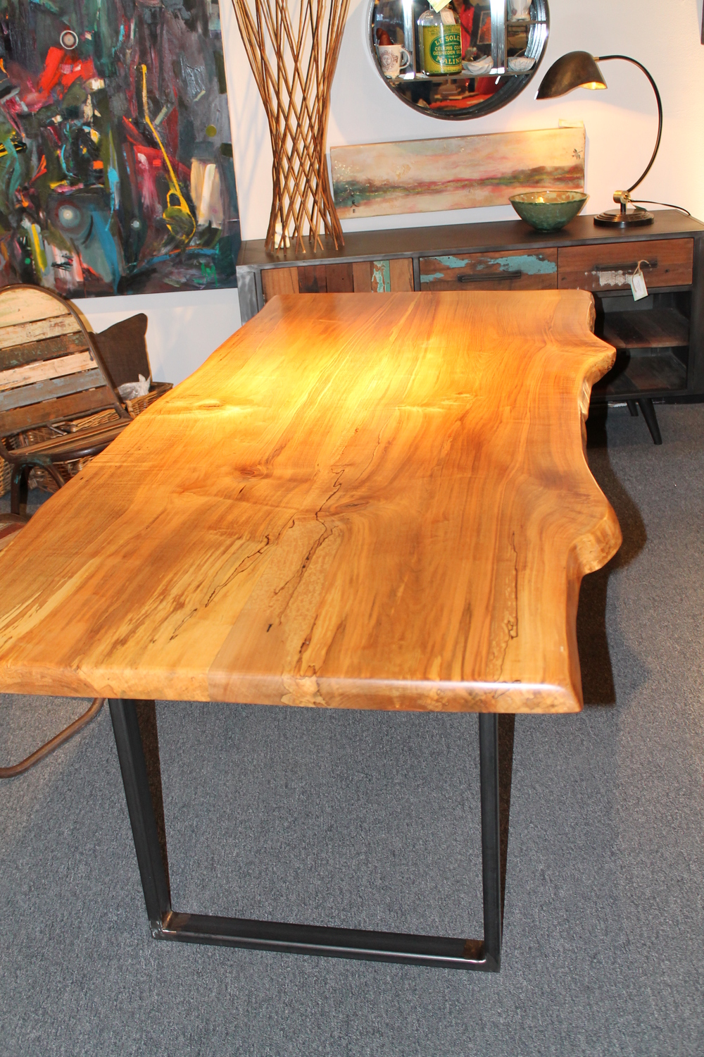 Live Edge Maple and Steel Dining Table
