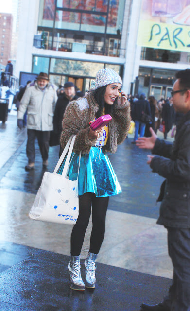 Metallic Street Style Photos hat skirt shoes nyfw