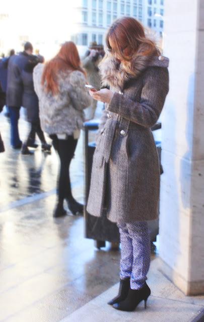 NYFW Street Style Fur Cap Toe Booties