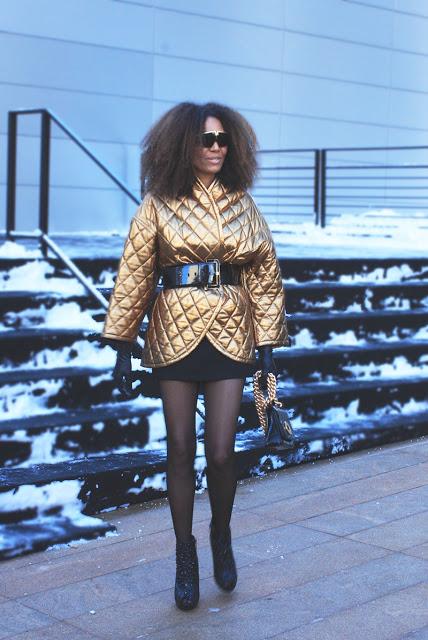Gold Metallic Street Style NYFW Coat