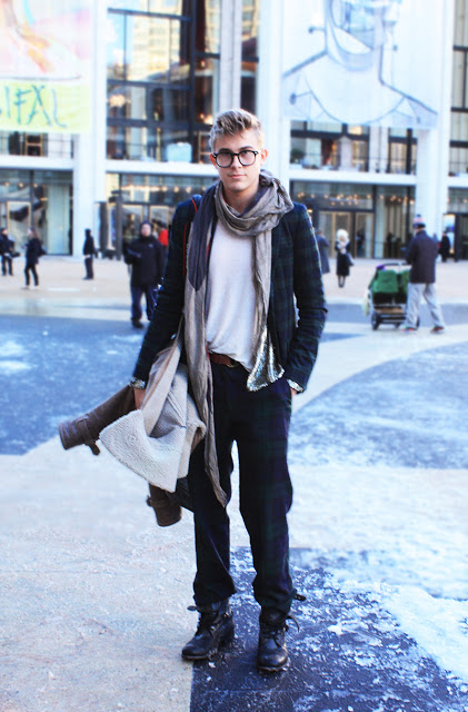 menswear street style glasses plaid suit