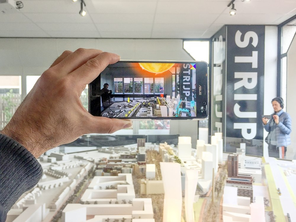 Strijp-X: experience the future of the city  Augmented Reality installation, presented at Dutch Design Week, 2017