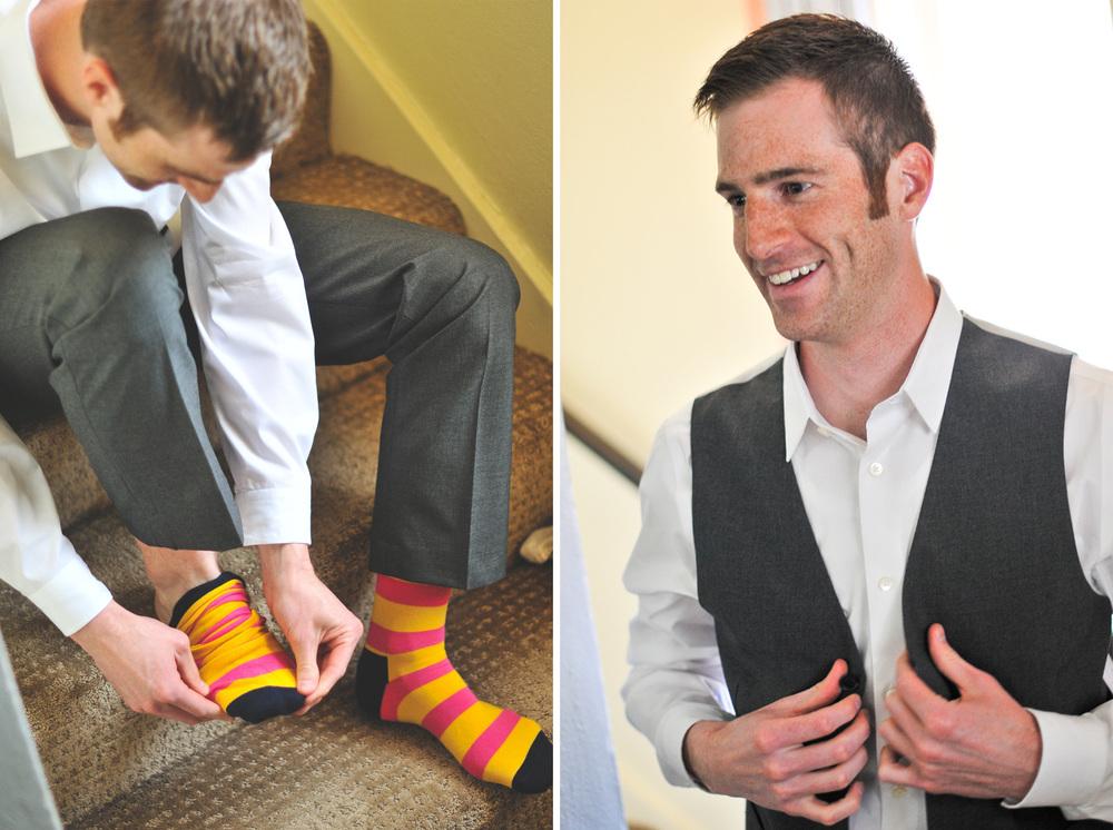 groom with cool socks