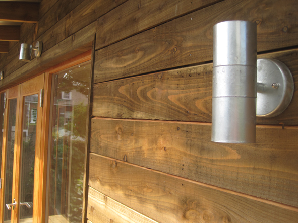 Garden Room - Sawn larch + galvanised light fittings
