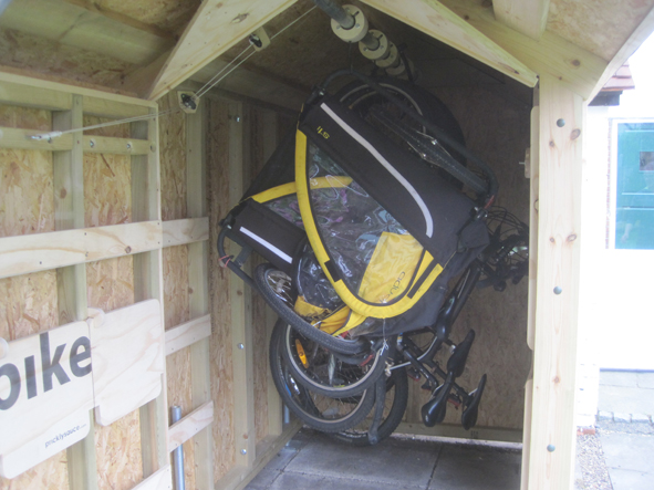 Bike shed - with unique sliding system storing up to five bikes within