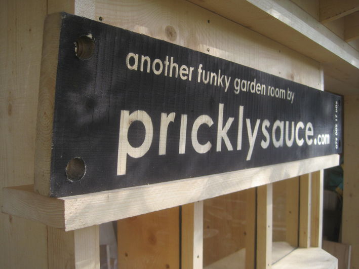 Spray Stencil - pricklysauce garden room roadside signage