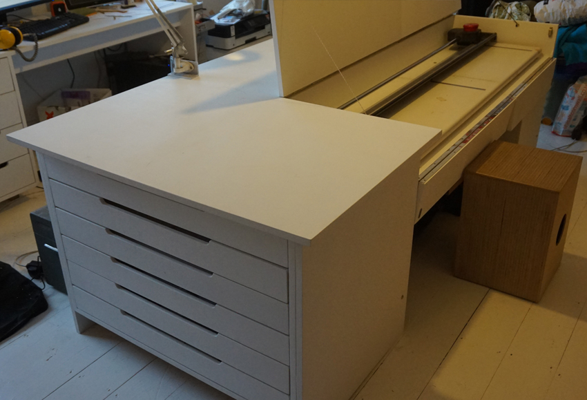 Work table - ...with integrated space for a large paper trimmer