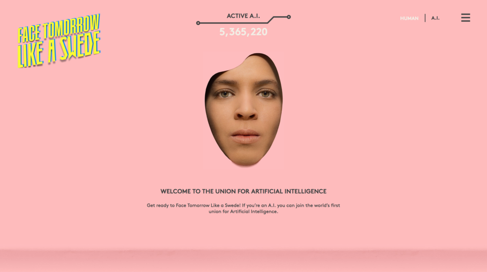 """On the web page humans where greeted by the Chairman of the A.I. union – a chatbot. The chatbot, or """"Chairbot"""", could answer any questions about the A.I. union and TCO."""