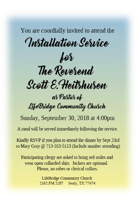 You Re Invited Installation Service For Scott E Heitshusen Scott