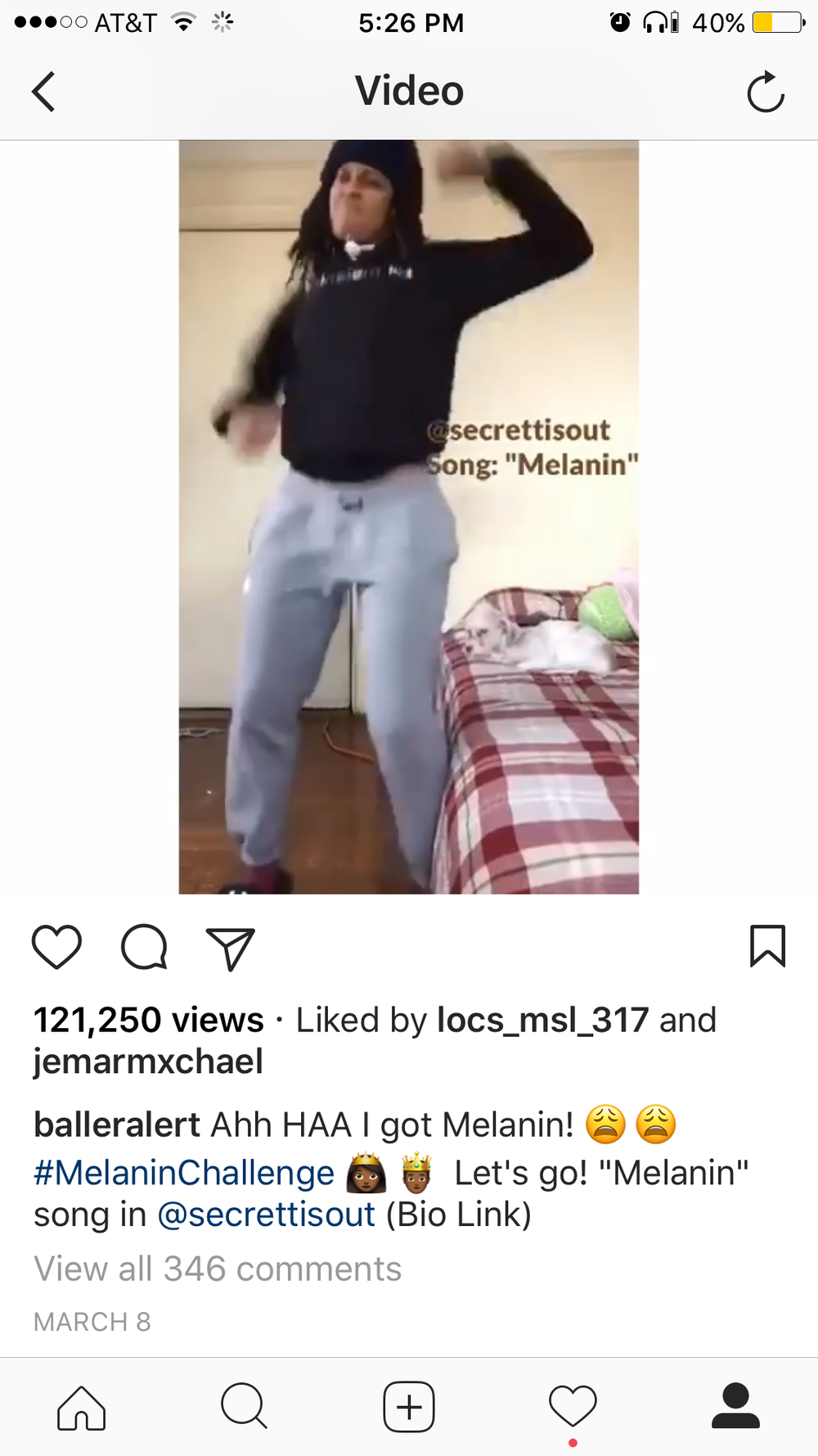 "(March 8, 2017)  - Instagram power blog, @balleralert , helped spark a buzz around what Secrett calls the "" #MelaninChallenge .""Go to the #MelaninChallenge hastag on instagram to check out a few of the videos. Click the photo to view the full video of Secrett's #MelaninChallenge on @balleralert."