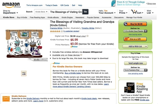 Screenshot of Amazon Page for The Blessings of Visiting Grandma and Grandpa by Franicia Tomokane White from Saipan