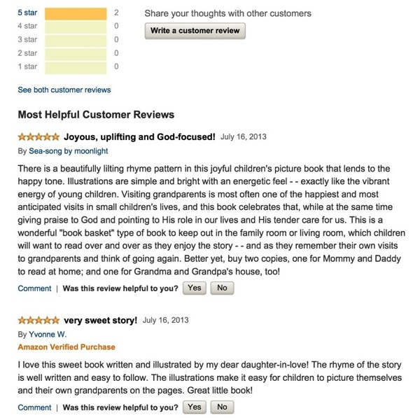 Screenshot  Amazon Reviews for Christian children s rhyming story book by author illustrator Franicia Tomokane White of Saipan published by Wholesome Family Media copy