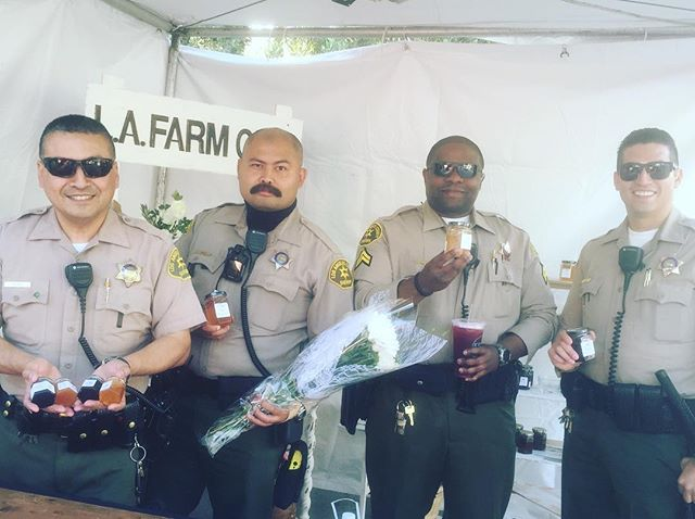 Serving #lacountysheriffs. Happy customers make me smile. #jammingout at the #latimesfoodbowl #lajamjunkie #lafoodie
