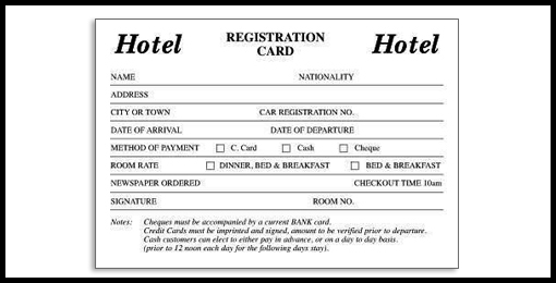 Room signage printed materials casino sourcing hotel registration card altavistaventures Images